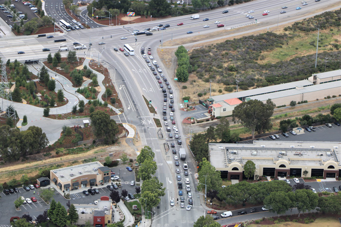 aerial shot of congested road